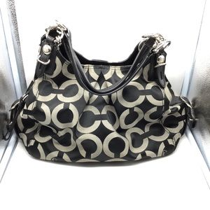 COACH Mia Maggie Op Art black & gray shoulder bag